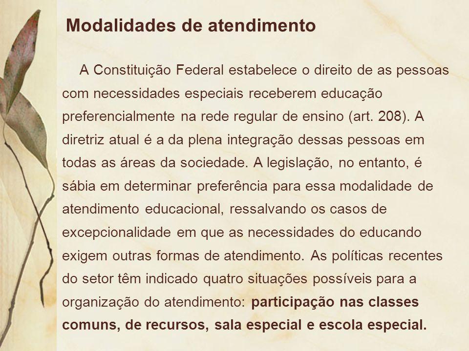 Modalidades de atendimento A Constituição Federal estabelece o direito de as pessoas com necessidades especiais receberem educação preferencialmente n
