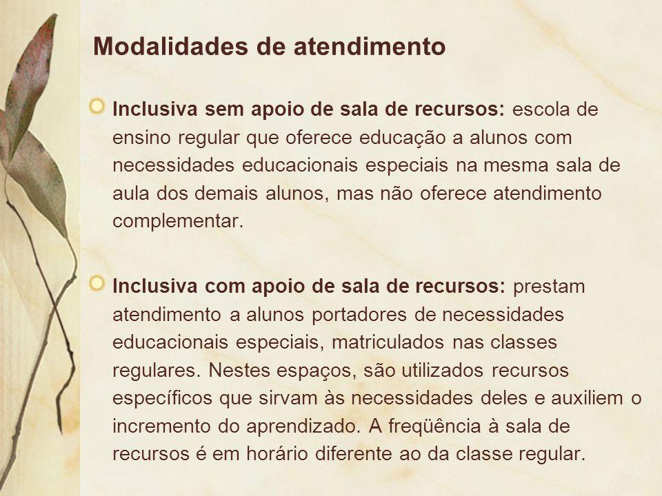 Modalidades de atendimento Inclusiva sem apoio de sala de recursos: escola de ensino regular que oferece educação a alunos com necessidades educaciona