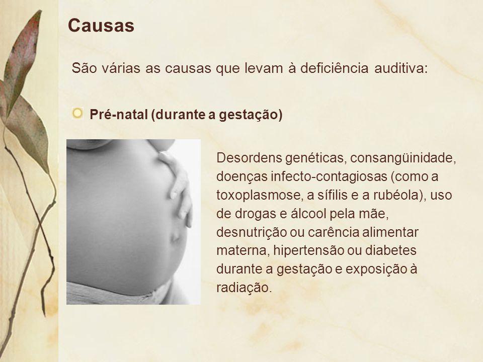 Causas São várias as causas que levam à deficiência auditiva: Pré-natal (durante a gestação) Desordens genéticas, consangüinidade, doenças infecto-con