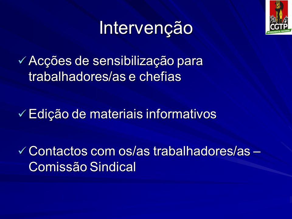 Intervenção Acções de sensibilização para trabalhadores/as e chefias Acções de sensibilização para trabalhadores/as e chefias Edição de materiais info