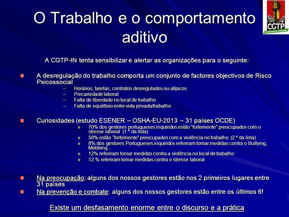 O Trabalho e o comportamento aditivo A CGTP-IN tenta sensibilizar e alertar as organizações para o seguinte: A desregulação do trabalho comporta um co