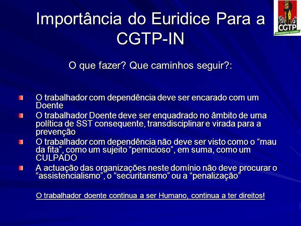 Importância do Euridice Para a CGTP-IN O que fazer? Que caminhos seguir?: O trabalhador com dependência deve ser encarado com um Doente O trabalhador