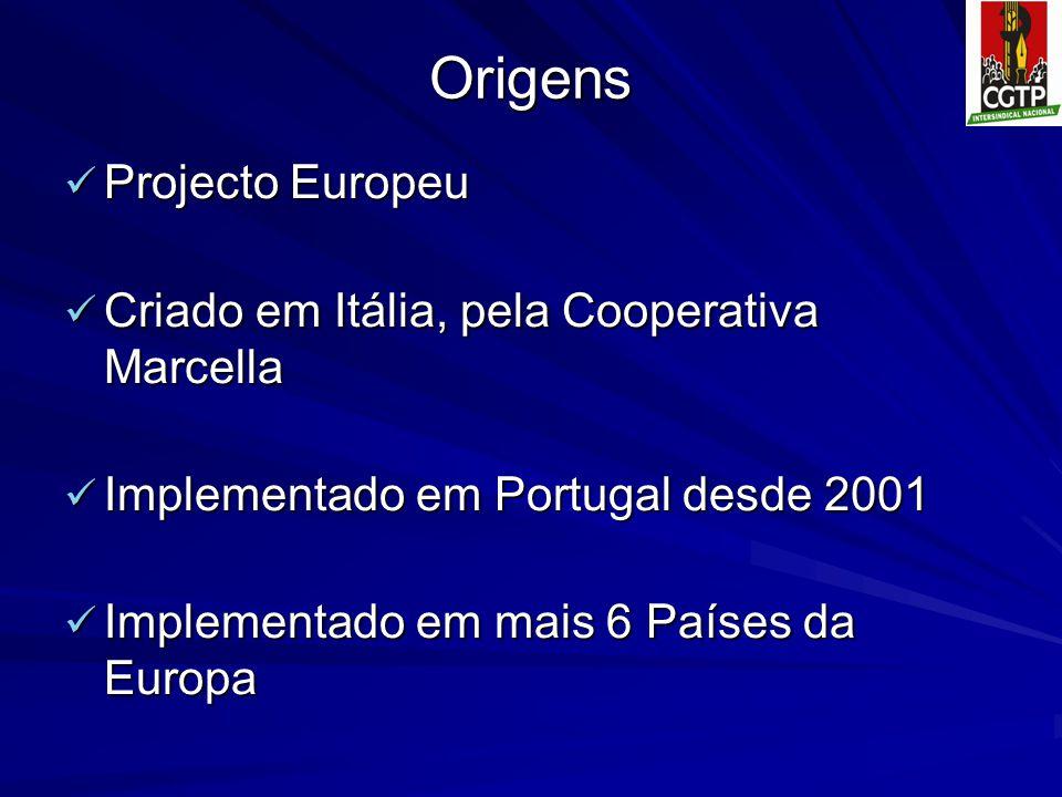 Origens Projecto Europeu Projecto Europeu Criado em Itália, pela Cooperativa Marcella Criado em Itália, pela Cooperativa Marcella Implementado em Port