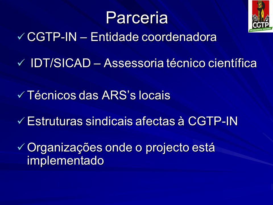 Parceria CGTP-IN – Entidade coordenadora CGTP-IN – Entidade coordenadora IDT/SICAD – Assessoria técnico científica IDT/SICAD – Assessoria técnico científica Técnicos das ARS's locais Técnicos das ARS's locais Estruturas sindicais afectas à CGTP-IN Estruturas sindicais afectas à CGTP-IN Organizações onde o projecto está implementado Organizações onde o projecto está implementado