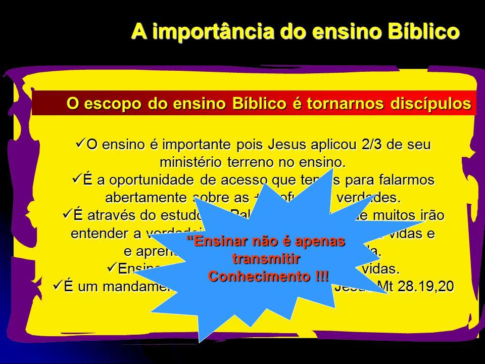 A importância do ensino Bíblico O ensino é importante pois Jesus aplicou 2/3 de seu ministério terreno no ensino.