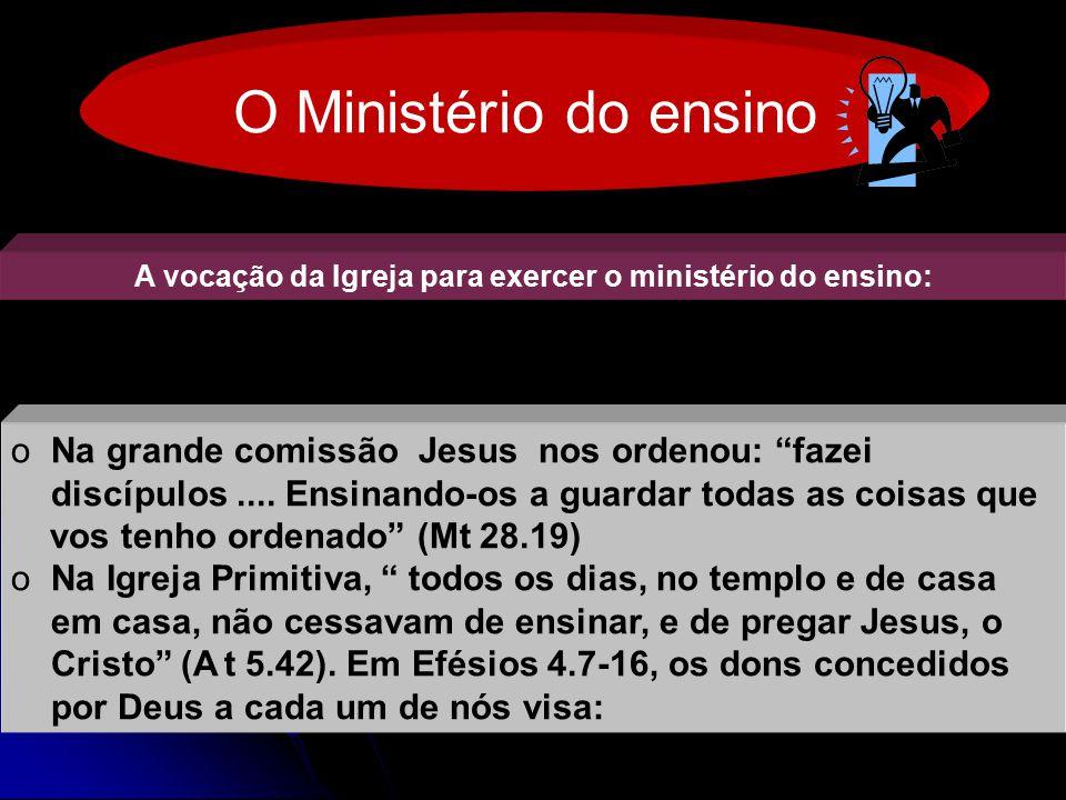 VOCAÇÃOVOCAÇÃO 1) Ao aperfeiçoamento dos Santos p/ o desempenho do seu serviço; 2) À edificação do Corpo de Cristo.