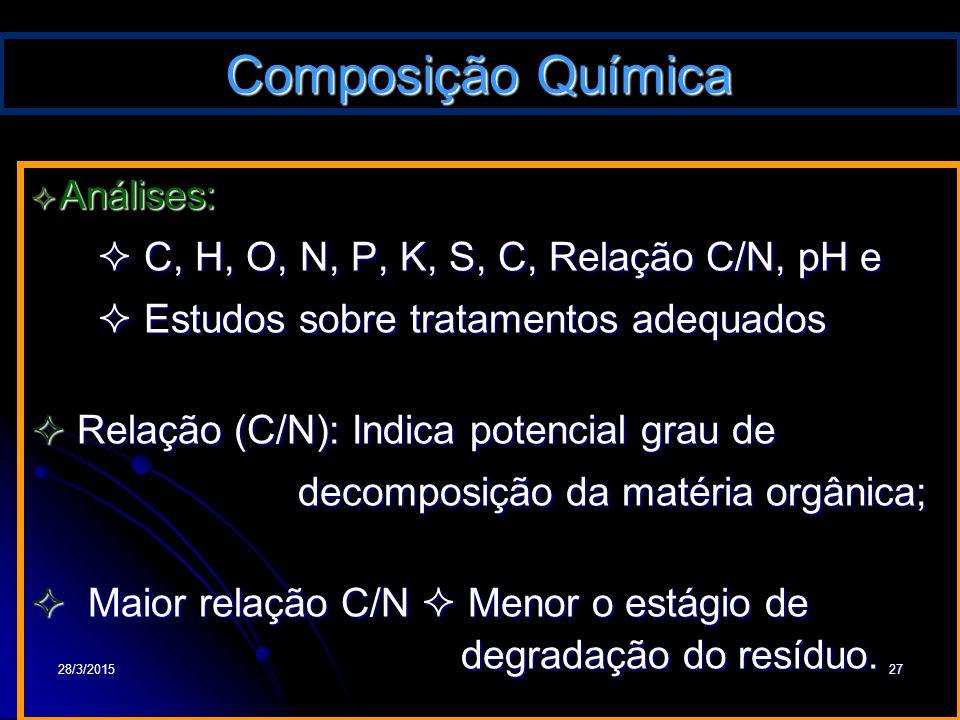 28/3/201527 Composição Química  Análises:  C, H, O, N, P, K, S, C, Relação C/N, pH e  C, H, O, N, P, K, S, C, Relação C/N, pH e  Estudos sobre tra