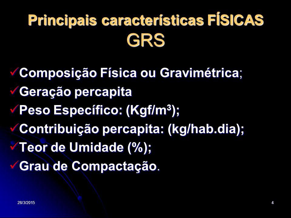 28/3/20154 Principais características FÍSICAS GRS Composição Física ou Gravimétrica; Composição Física ou Gravimétrica; Geração percapita Geração percapita Peso Específico: (Kgf/m 3 ); Peso Específico: (Kgf/m 3 ); Contribuição percapita: (kg/hab.dia); Contribuição percapita: (kg/hab.dia); Teor de Umidade (%); Teor de Umidade (%); Grau de Compactação.