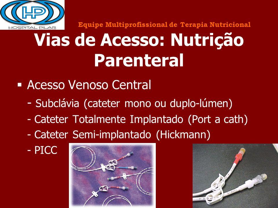 Vias de Acesso: Nutrição Parenteral  Acesso Venoso Central - Subclávia (cateter mono ou duplo-lúmen) - Cateter Totalmente Implantado (Port a cath) -