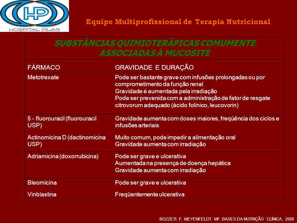 Equipe Multiprofissional de Terapia Nutricional BOZZETI. F, MEYENFELDT. MF. BASES DA NUTRIÇÃO CLÍNICA, 2008 SUBSTÂNCIAS QUIMIOTERÁPICAS COMUMENTE ASSO