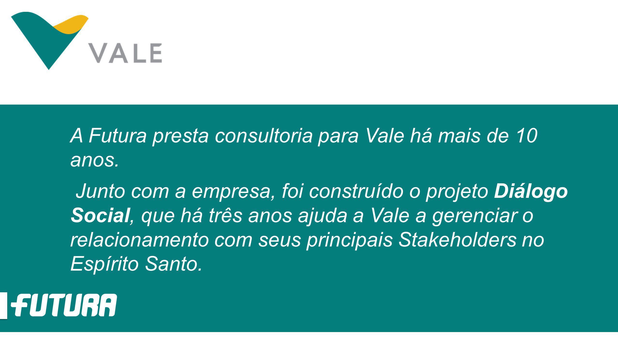 A Futura presta consultoria para Vale há mais de 10 anos. Junto com a empresa, foi construído o projeto Diálogo Social, que há três anos ajuda a Vale