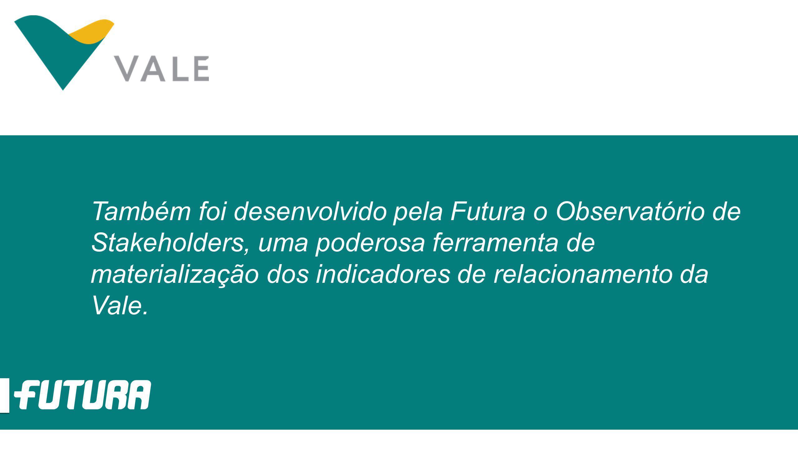 Também foi desenvolvido pela Futura o Observatório de Stakeholders, uma poderosa ferramenta de materialização dos indicadores de relacionamento da Val