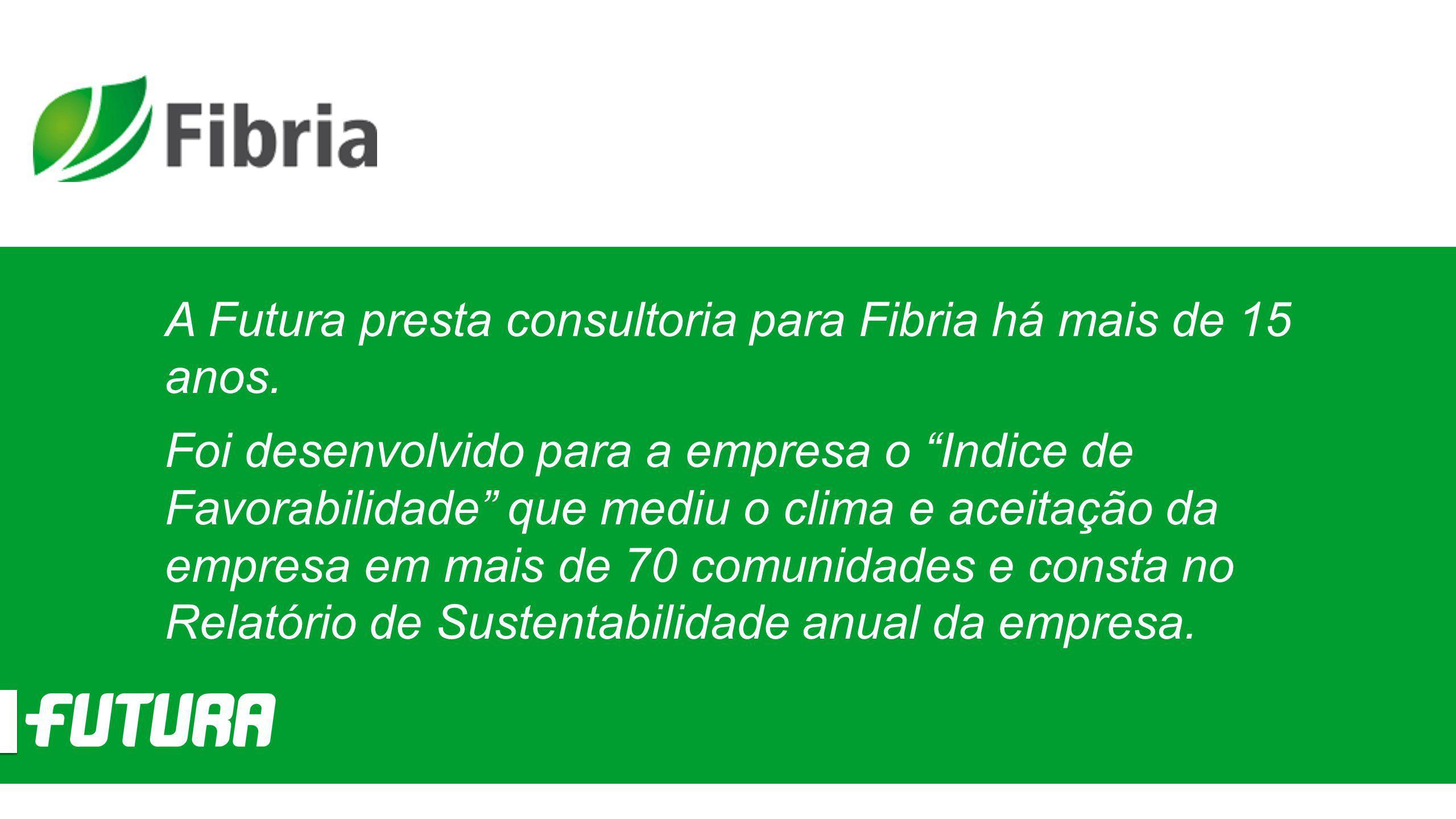 """A Futura presta consultoria para Fibria há mais de 15 anos. Foi desenvolvido para a empresa o """"Indice de Favorabilidade"""" que mediu o clima e aceitação"""