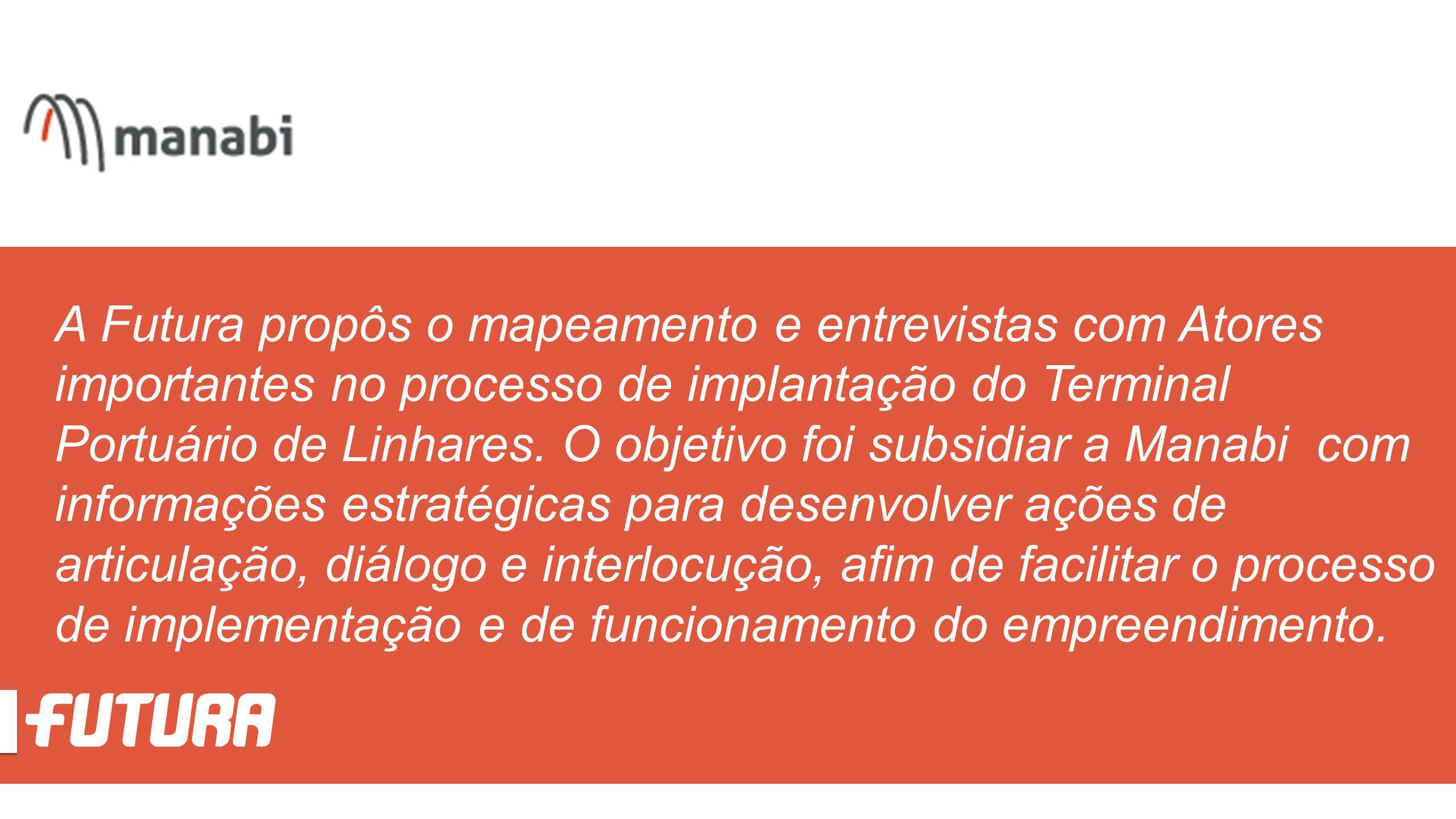 A Futura propôs o mapeamento e entrevistas com Atores importantes no processo de implantação do Terminal Portuário de Linhares. O objetivo foi subsidi