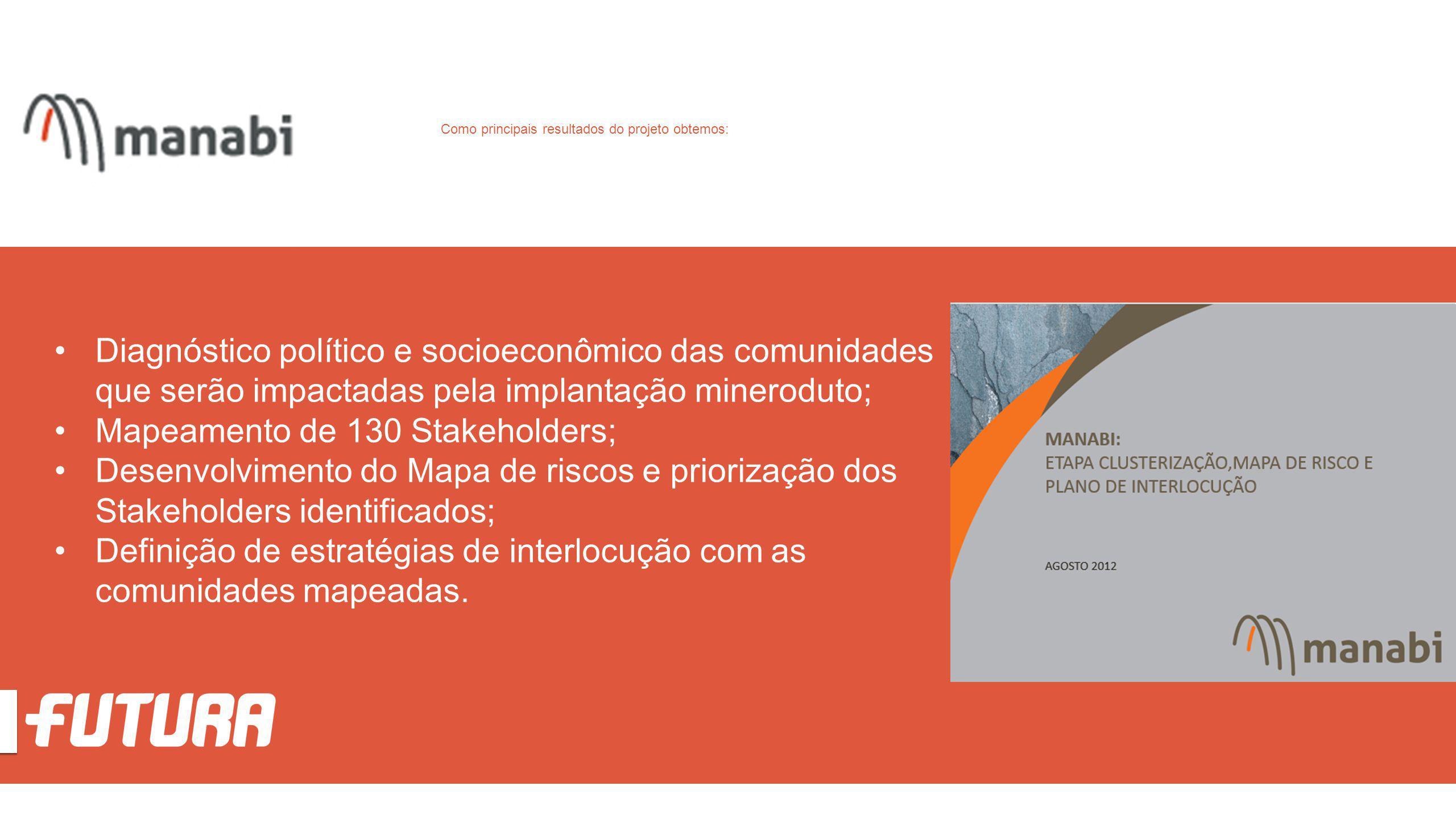 Diagnóstico político e socioeconômico das comunidades que serão impactadas pela implantação mineroduto; Mapeamento de 130 Stakeholders; Desenvolviment