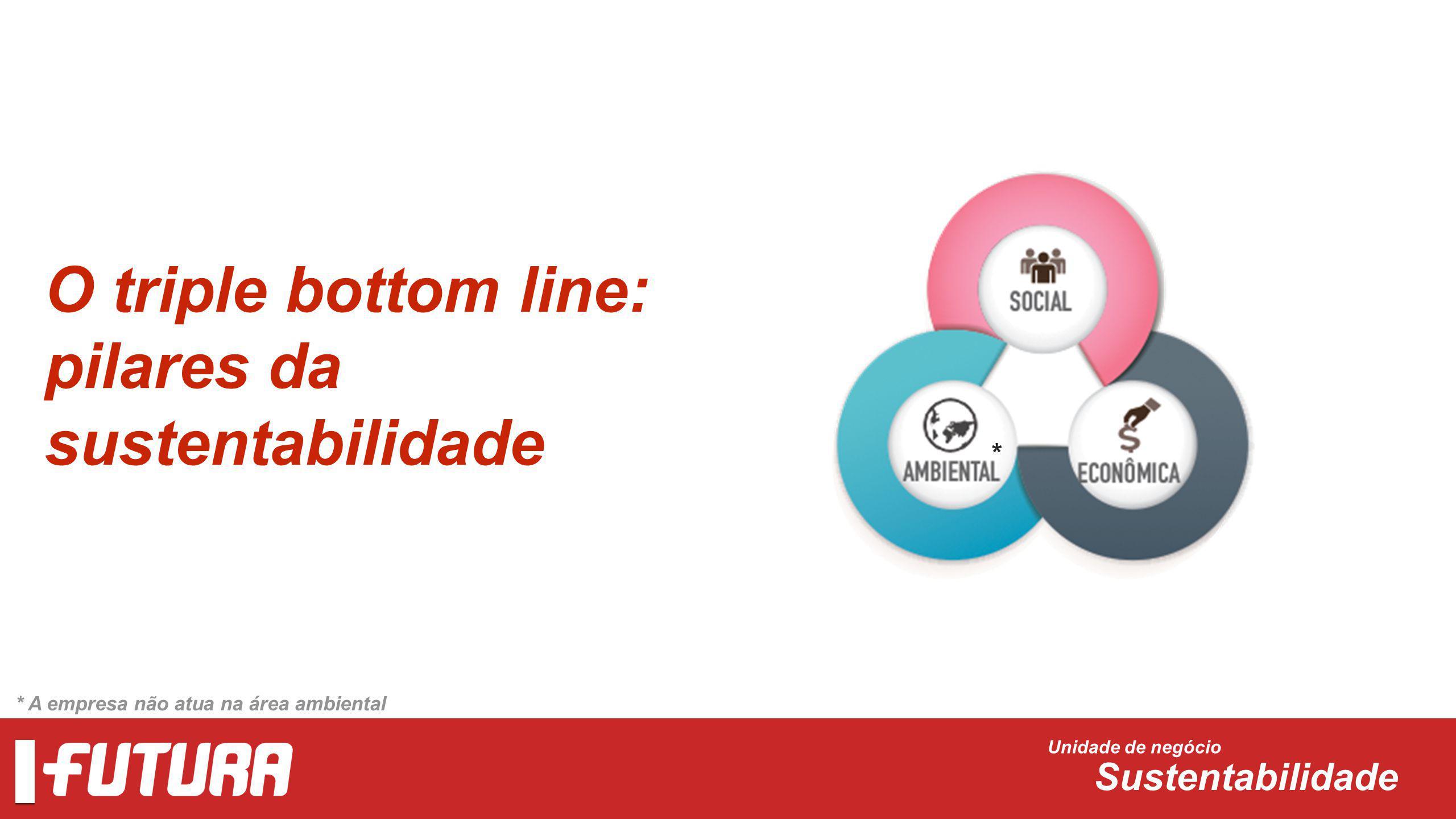 O triple bottom line: pilares da sustentabilidade Unidade de negócio Sustentabilidade * * A empresa não atua na área ambiental