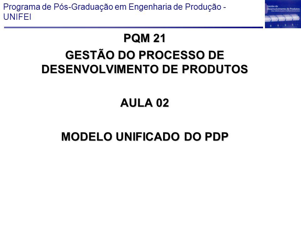 Programa de Pós-Graduação em Engenharia de Produção - UNIFEI PQM 21 GESTÃO DO PROCESSO DE DESENVOLVIMENTO DE PRODUTOS AULA 02 MODELO UNIFICADO DO PDP