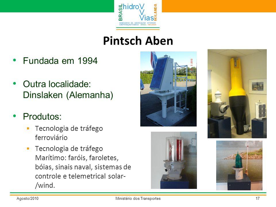 Pintsch Aben Fundada em 1994 Outra localidade: Dinslaken (Alemanha) Produtos:  Tecnologia de tráfego ferroviário  Tecnologia de tráfego Marítimo: faróis, faroletes, bóias, sinais naval, sistemas de controle e telemetrical solar- /wind.