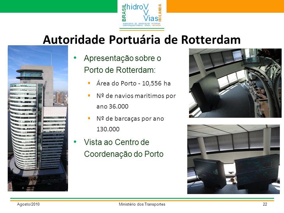 Autoridade Portuária de Rotterdam Agosto/2010Ministério dos Transportes22 Apresentação sobre o Porto de Rotterdam:  Área do Porto - 10,556 ha  Nº de navios maritimos por ano 36.000  Nº de barcaças por ano 130.000 Vista ao Centro de Coordenação do Porto