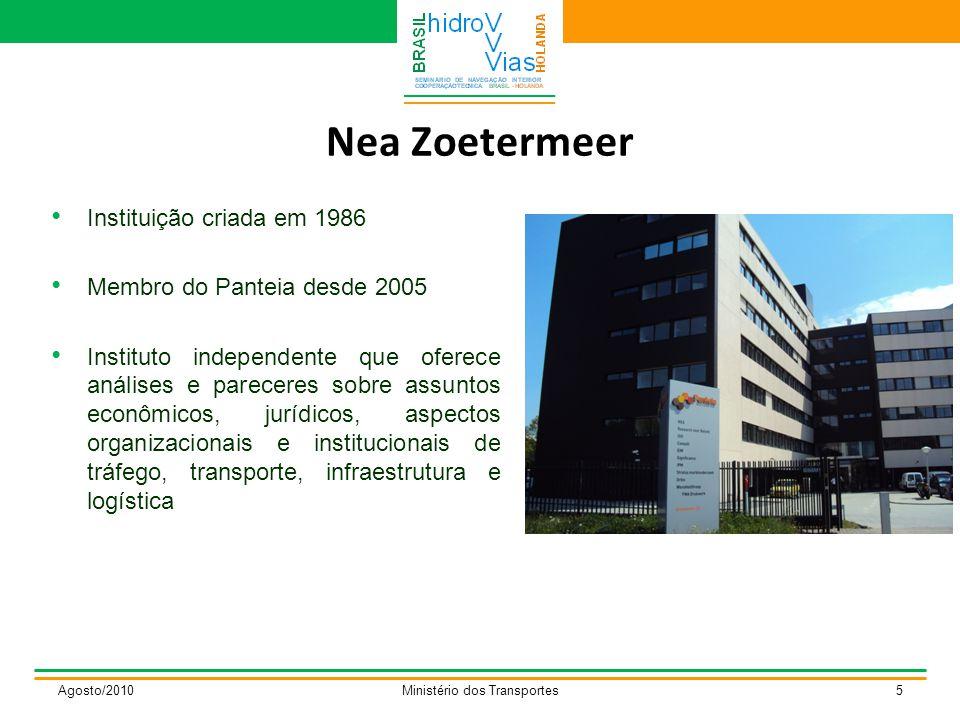Nea Zoetermeer Instituição criada em 1986 Membro do Panteia desde 2005 Instituto independente que oferece análises e pareceres sobre assuntos econômicos, jurídicos, aspectos organizacionais e institucionais de tráfego, transporte, infraestrutura e logística Agosto/2010Ministério dos Transportes5