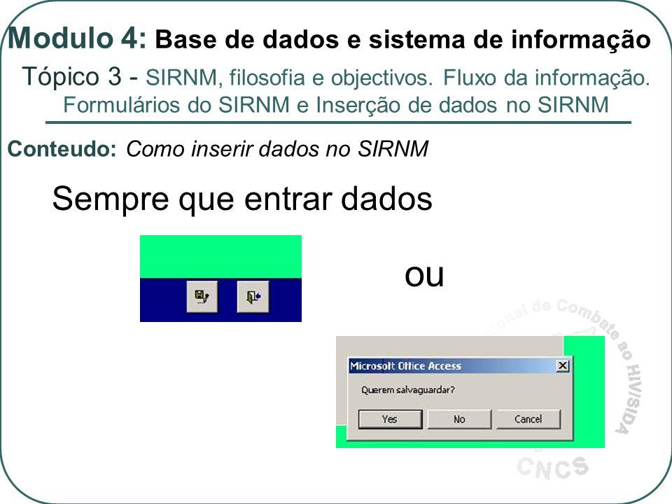 Sempre que entrar dados ou Conteudo: Como inserir dados no SIRNM Tópico 3 - SIRNM, filosofia e objectivos.