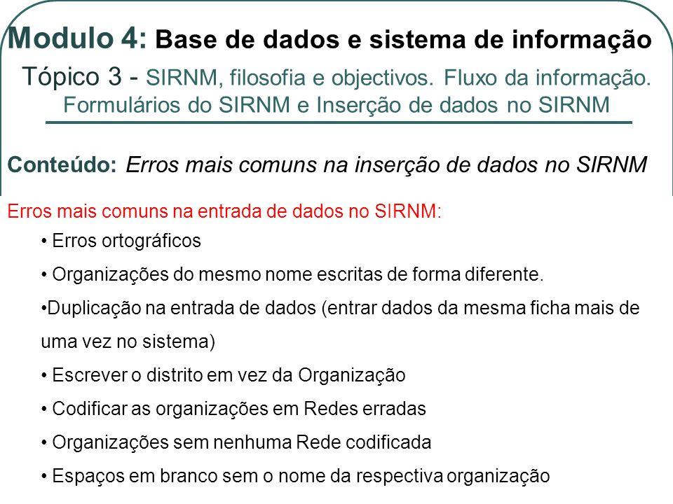 Erros mais comuns na entrada de dados no SIRNM: Erros ortográficos Organizações do mesmo nome escritas de forma diferente.