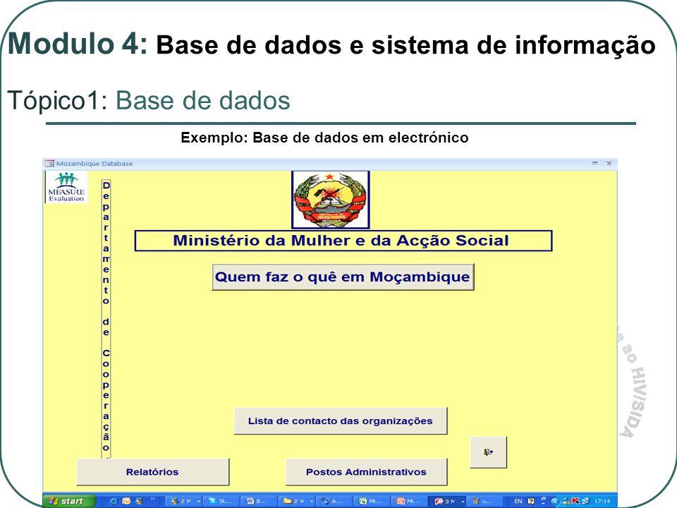 Exemplo: Base de dados em electrónico Modulo 4: Base de dados e sistema de informação Tópico1: Base de dados