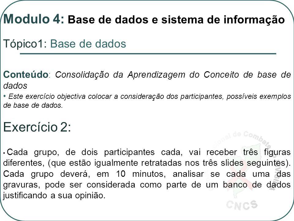 Conteúdo : Consolidação da Aprendizagem do Conceito de base de dados Este exercício objectiva colocar a consideração dos participantes, possíveis exemplos de base de dados.