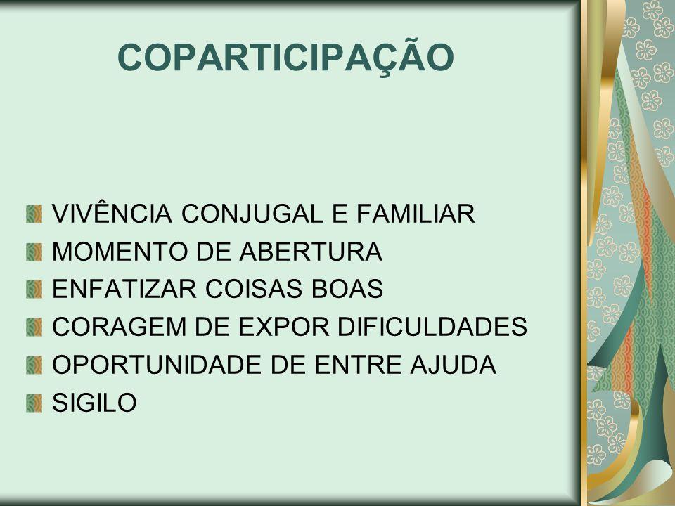 COPARTICIPAÇÃO VIVÊNCIA CONJUGAL E FAMILIAR MOMENTO DE ABERTURA ENFATIZAR COISAS BOAS CORAGEM DE EXPOR DIFICULDADES OPORTUNIDADE DE ENTRE AJUDA SIGILO