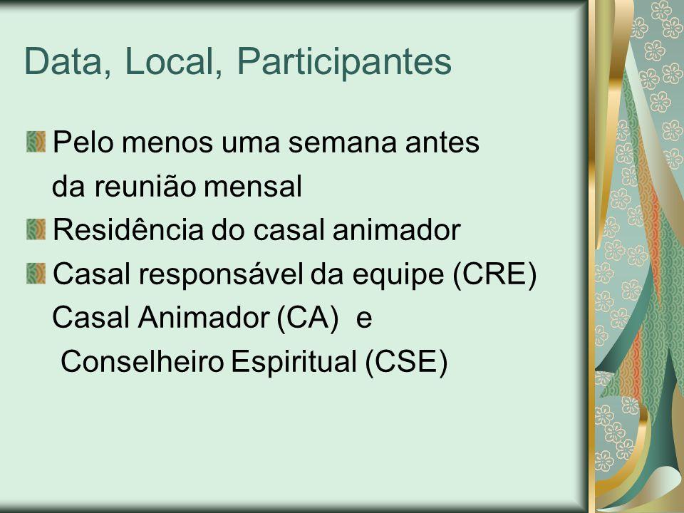 Data, Local, Participantes Pelo menos uma semana antes da reunião mensal Residência do casal animador Casal responsável da equipe (CRE) Casal Animador (CA) e Conselheiro Espiritual (CSE)