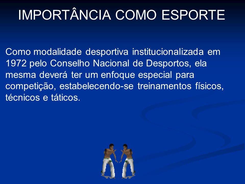 IMPORTÂNCIA COMO ESPORTE Como modalidade desportiva institucionalizada em 1972 pelo Conselho Nacional de Desportos, ela mesma deverá ter um enfoque es