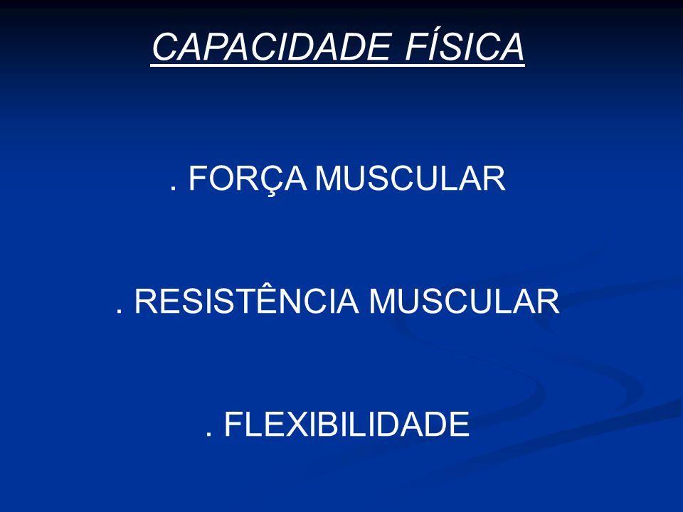 CAPACIDADE FÍSICA. FORÇA MUSCULAR. RESISTÊNCIA MUSCULAR. FLEXIBILIDADE