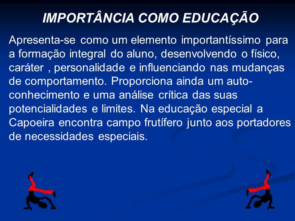 IMPORTÂNCIA COMO EDUCAÇÃO Apresenta-se como um elemento importantíssimo para a formação integral do aluno, desenvolvendo o físico, caráter, personalid