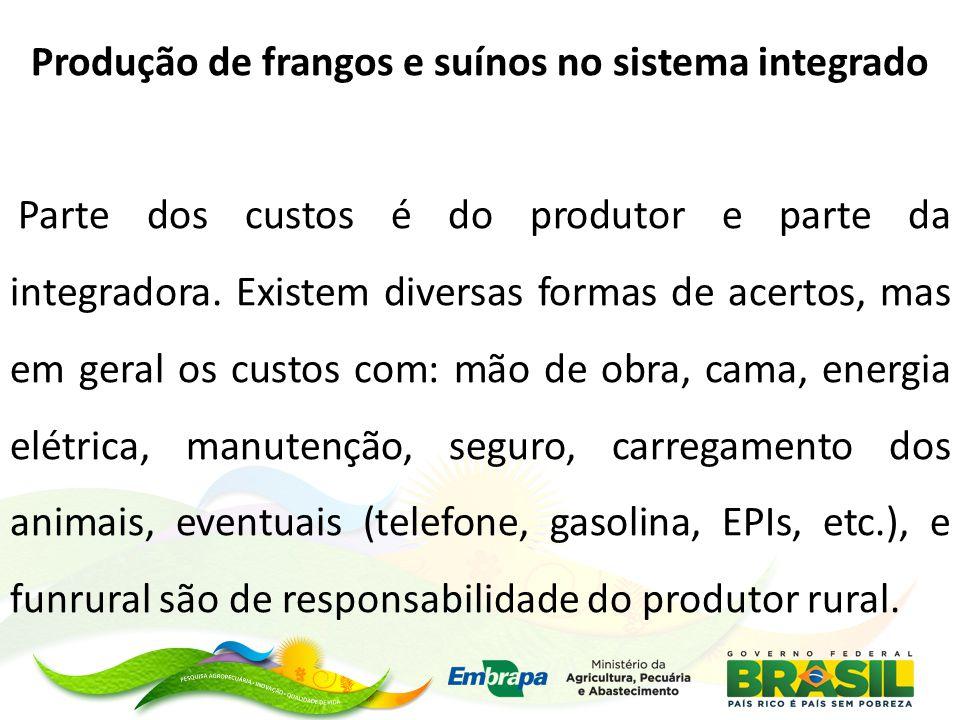Produção de frangos e suínos no sistema integrado Parte dos custos é do produtor e parte da integradora.