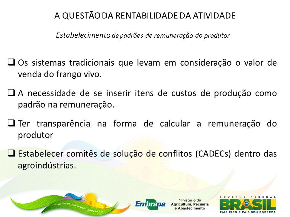 A QUESTÃO DA RENTABILIDADE DA ATIVIDADE Estabelecimento de padrões de remuneração do produtor  Os sistemas tradicionais que levam em consideração o valor de venda do frango vivo.