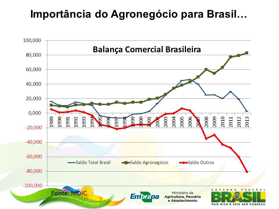 Importância do Agronegócio para Brasil… Fonte: MDIC