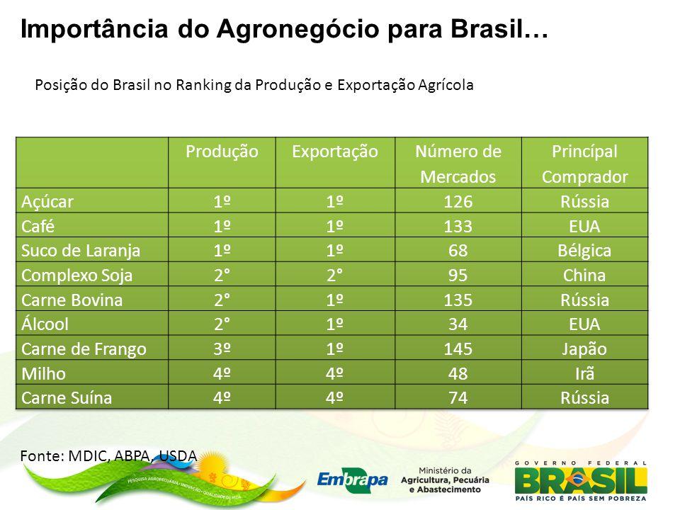 Importância do Agronegócio para Brasil… Posição do Brasil no Ranking da Produção e Exportação Agrícola Fonte: MDIC, ABPA, USDA