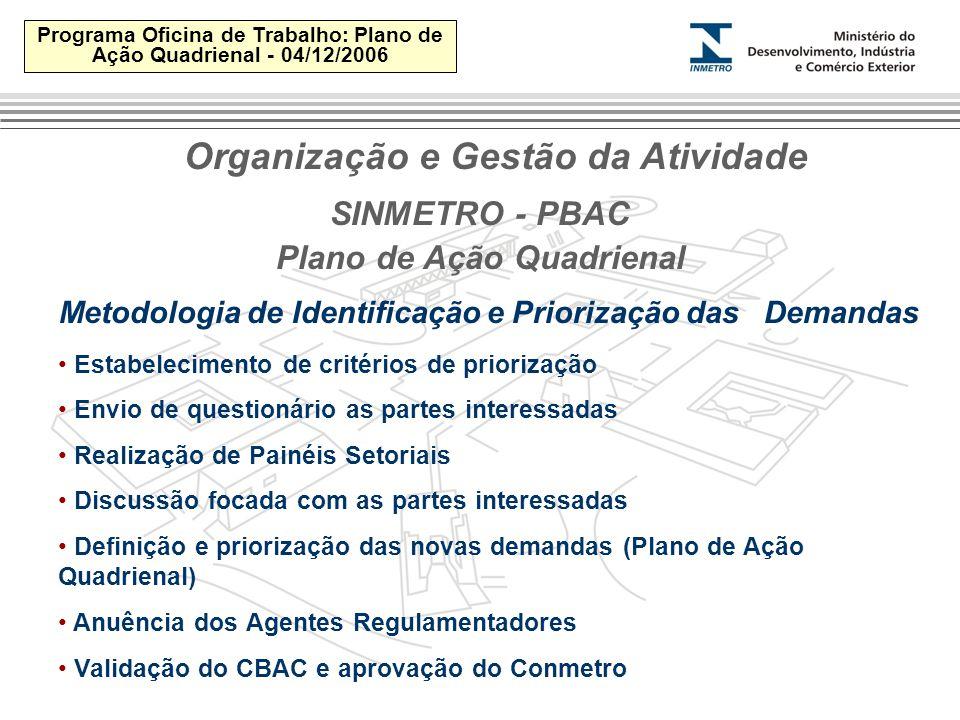 Programa Oficina de Trabalho: Plano de Ação Quadrienal - 04/12/2006 SINMETRO - PBAC Metodologia de Identificação e Priorização das Demandas Estabelecimento de critérios de priorização Envio de questionário as partes interessadas Realização de Painéis Setoriais Discussão focada com as partes interessadas Definição e priorização das novas demandas (Plano de Ação Quadrienal) Anuência dos Agentes Regulamentadores Validação do CBAC e aprovação do Conmetro Plano de Ação Quadrienal Organização e Gestão da Atividade