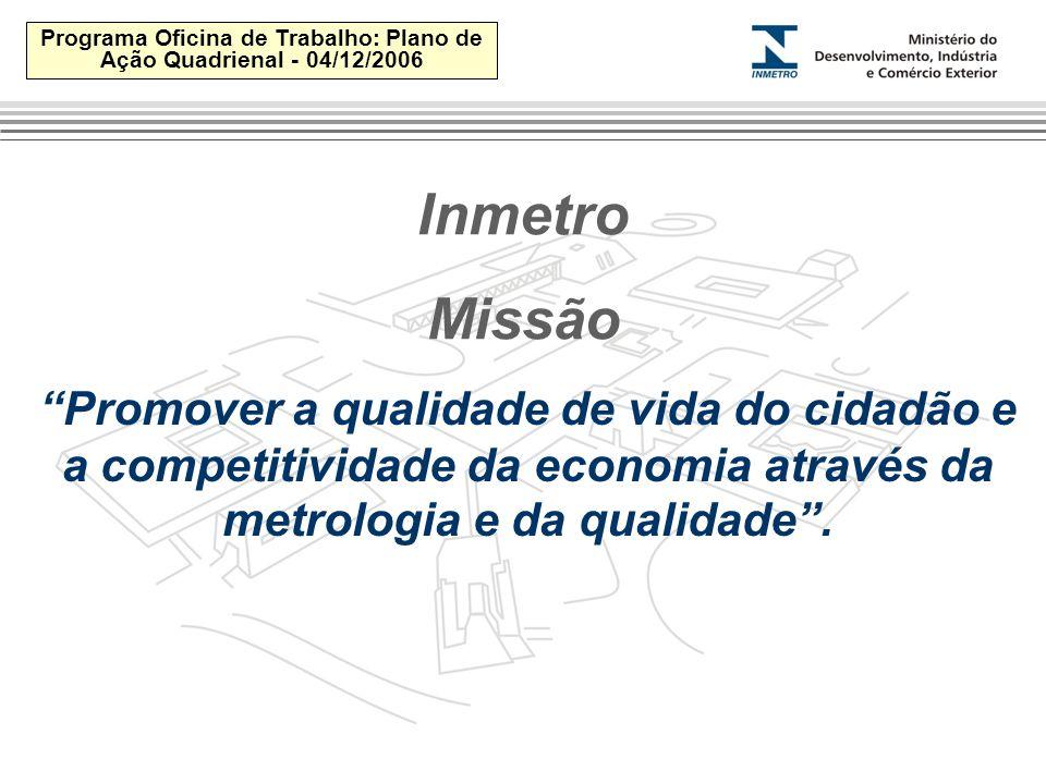 Programa Oficina de Trabalho: Plano de Ação Quadrienal - 04/12/2006 Inmetro Missão Promover a qualidade de vida do cidadão e a competitividade da economia através da metrologia e da qualidade .