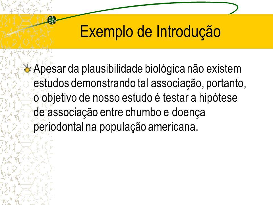 Exemplo de Introdução Apesar da plausibilidade biológica não existem estudos demonstrando tal associação, portanto, o objetivo de nosso estudo é testa