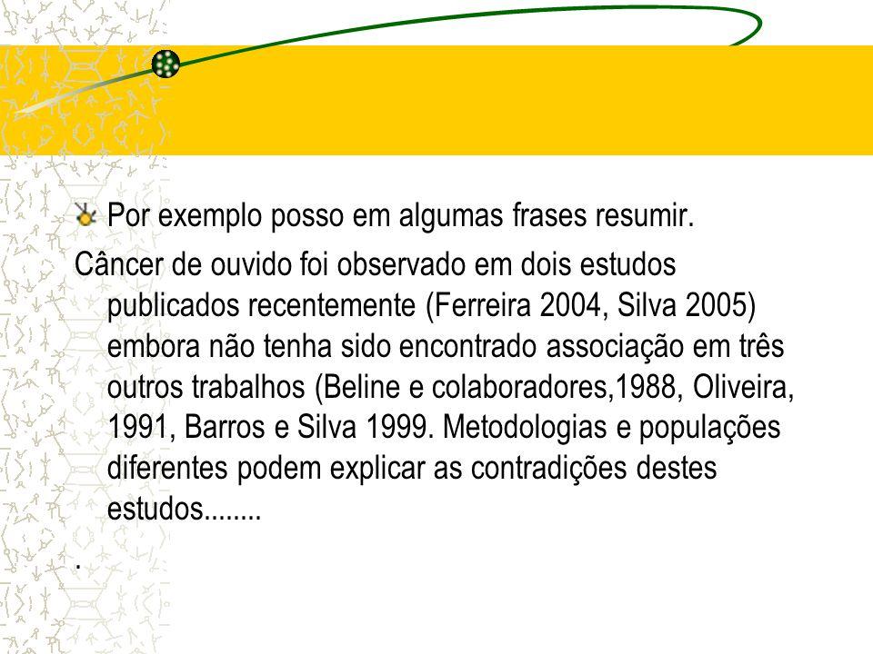 Por exemplo posso em algumas frases resumir. Câncer de ouvido foi observado em dois estudos publicados recentemente (Ferreira 2004, Silva 2005) embora