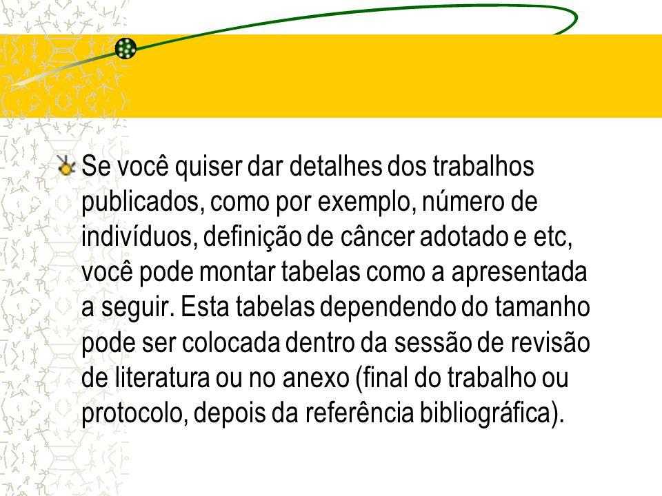 Se você quiser dar detalhes dos trabalhos publicados, como por exemplo, número de indivíduos, definição de câncer adotado e etc, você pode montar tabe