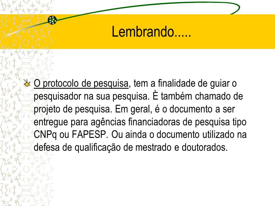 Detalhes do Protocolo de Pesquisa O procolo, é um marco na realização do trabalho.