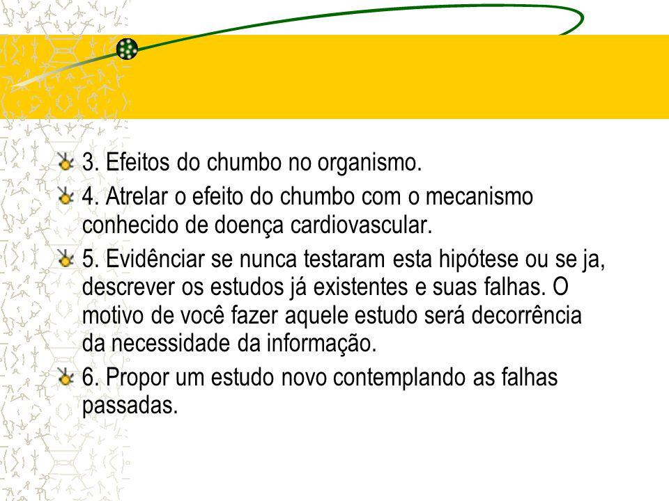 3. Efeitos do chumbo no organismo. 4. Atrelar o efeito do chumbo com o mecanismo conhecido de doença cardiovascular. 5. Evidênciar se nunca testaram e