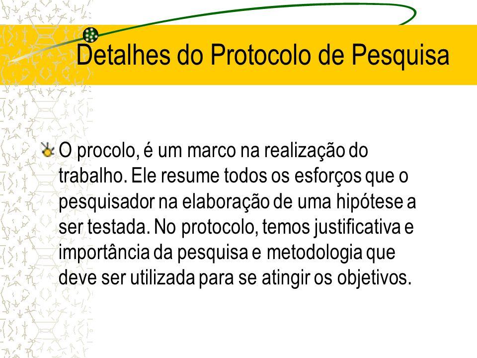 Detalhes do Protocolo de Pesquisa O procolo, é um marco na realização do trabalho. Ele resume todos os esforços que o pesquisador na elaboração de uma