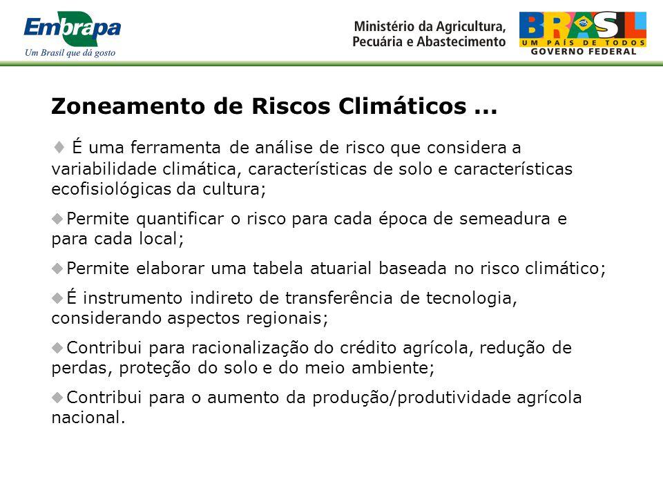 Zoneamento Agrícola de Risco Climático: Bases Conceituais Fábio Ricardo Marin Embrapa Informática Agropecuária Reunião Temática de Agricultura Rede Br