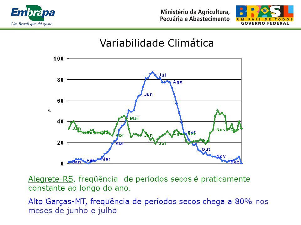 Alegrete-RS, a precipitação aumenta no início do outono e da primavera Alto Garças/MT - chuvas concentradas no verão com estação seca definida Variabi