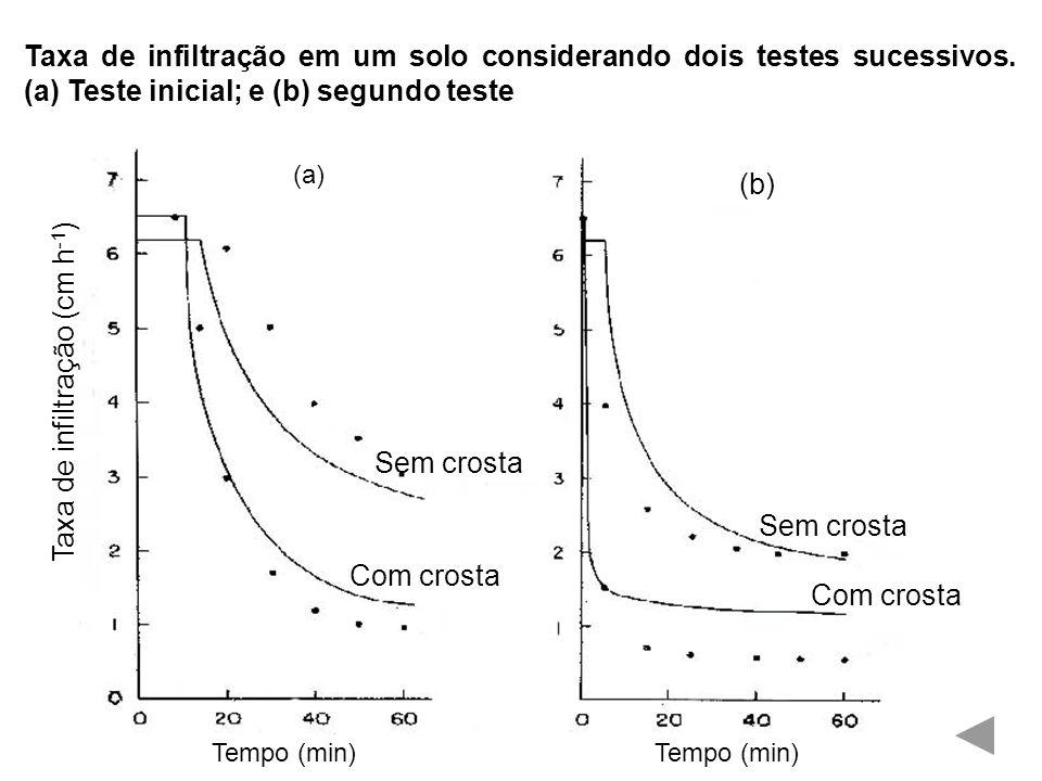 Taxa de infiltração em um solo considerando dois testes sucessivos.