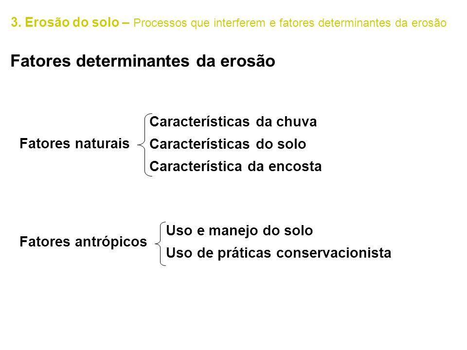 3. Erosão do solo – Processos que interferem e fatores determinantes da erosão Fatores determinantes da erosão Fatores naturais Fatores antrópicos Car