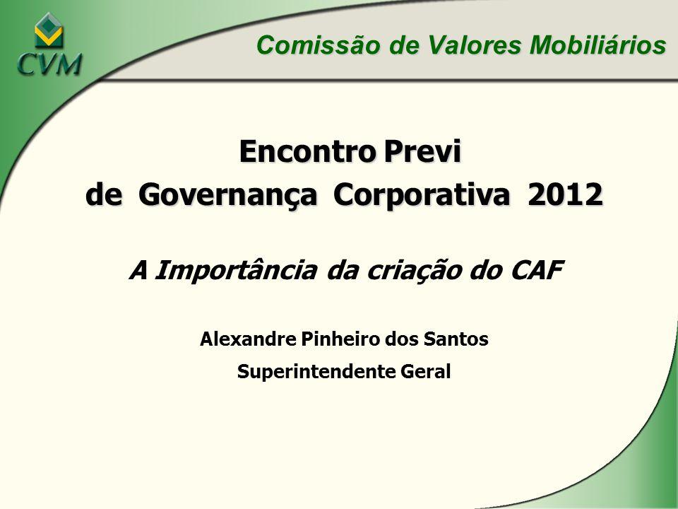Encontro Previ Encontro Previ de Governança Corporativa 2012 A Importância da criação do CAF Alexandre Pinheiro dos Santos Superintendente Geral Comissão de Valores Mobiliários
